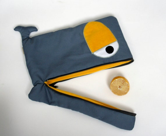 Funny Whale  padded laptop / macbook case in grey and  yellow 13, 14, 15,17  inch - made to order