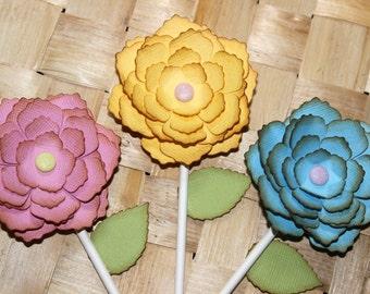 Flower Cupcake Toppers, Spring, Garden Birthday
