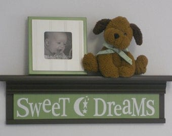 "Green Baby Nursery - Sweet Dreams - Sign on 24"" Shelf Brown and Light Green Moon and Star Nursery Wall Art"