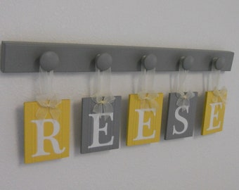 Name Sign Kids Room Decor- Wall Decor Wooden Letters- Wooden Signs- Wall Letters- 5 Wall Hanging Painted Yellow Gray Alphabet Tiles- REESE