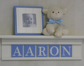 """Baby Boy Nursery Decorations - Baby Name Sign for AARON - 24"""" Linen  (Off White) Shelf 5 Pastel Blue Wooden Letter Tiles"""