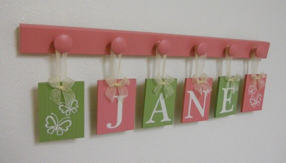 Personalized Children - Children Decor Pink and Green - 6 Wooden Hooks Baby Name - JANE with Butterflies