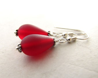 Sea Glass Seaglass Earrings Red Berry Cherry Cranberry BellinaCreations Bellina Creation