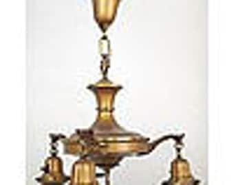 3 Arm Panlight with hanging lights brass finish, 1920