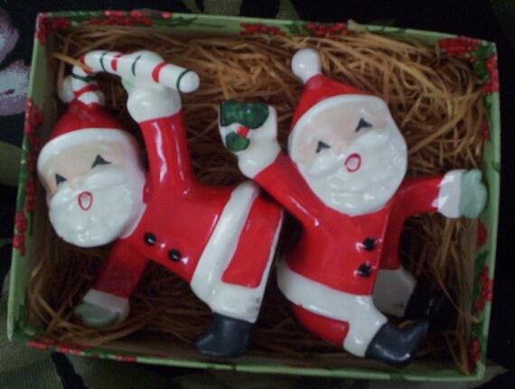 Christmas Santas. Vintage Napco Christmas Santas.  1957 Napco Santa Candle Climbers.  Ceramic Santas