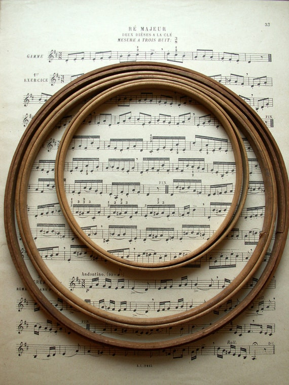 Set of Three Vintage Round Embroidery Hoops