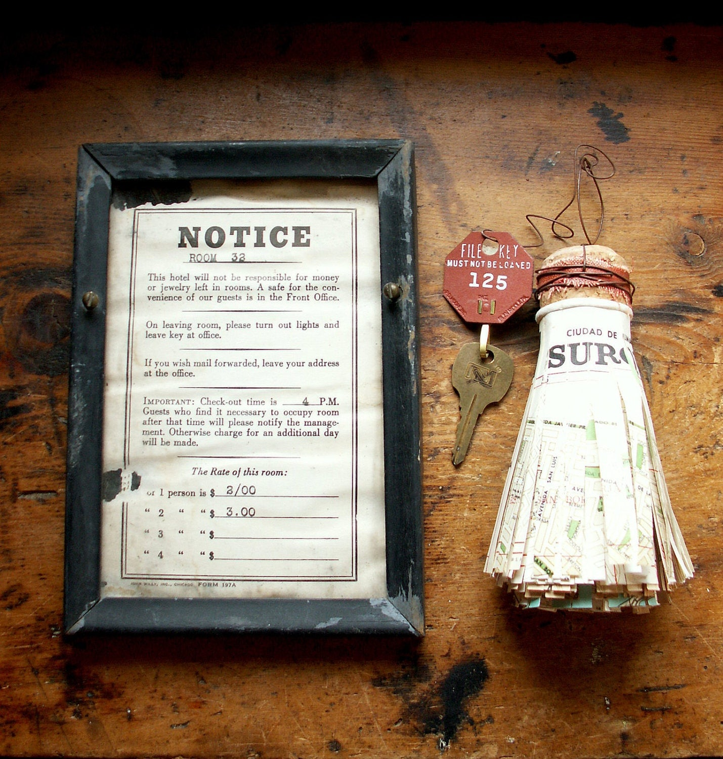 Vintage hotel room rate sign halloween haunted house for Vintage hotel decor