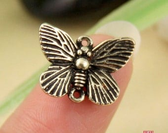 4pcs Brass Butterfly Connector Charm