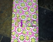 Crochet Hook Case Holder Organizer Pink Lime Green print to go Holds Crochet Needle Case
