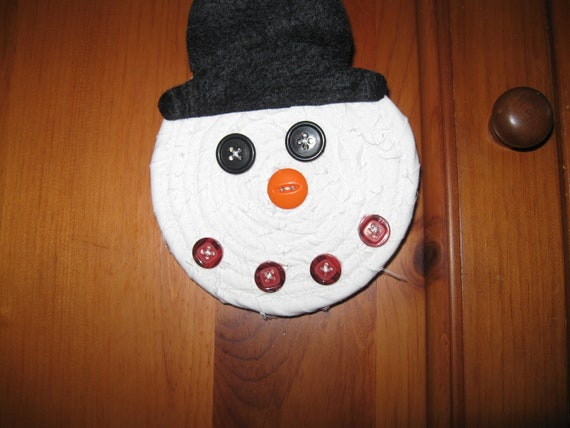 Snowman Ornament or Gift Tag All cotton and handcrafted personalize with adding your name