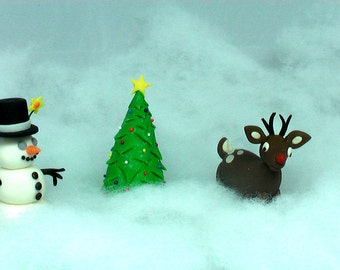 100% Edible Fondant Rudolph the Red Nosed Reindeer, Frosty the Snowman and Christmas Tree Cake Topper