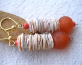 African shell and orange tangerine recycled glass Earrings by Fianaturals