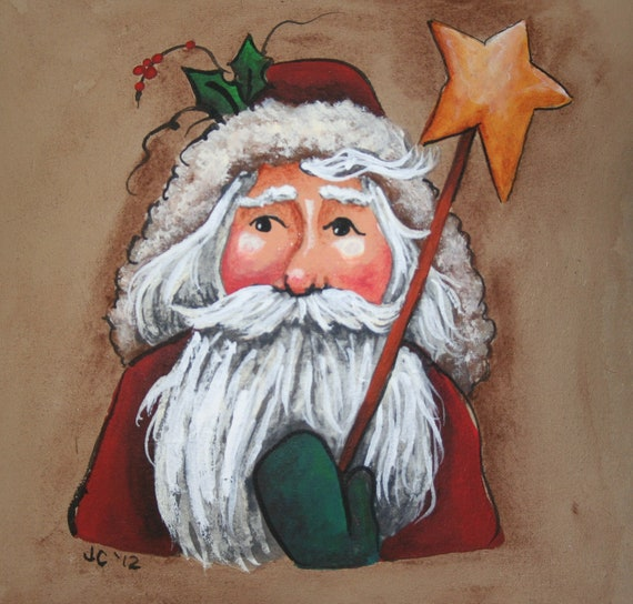 Santa Little Pillow - Bowl Filler - Tuck - Hand Painted - OFG