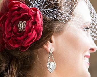 Scarlet Red bridal hair accessories , bridal hair flower, wedding veil Floral Fascinator with birdcage bandeau veil