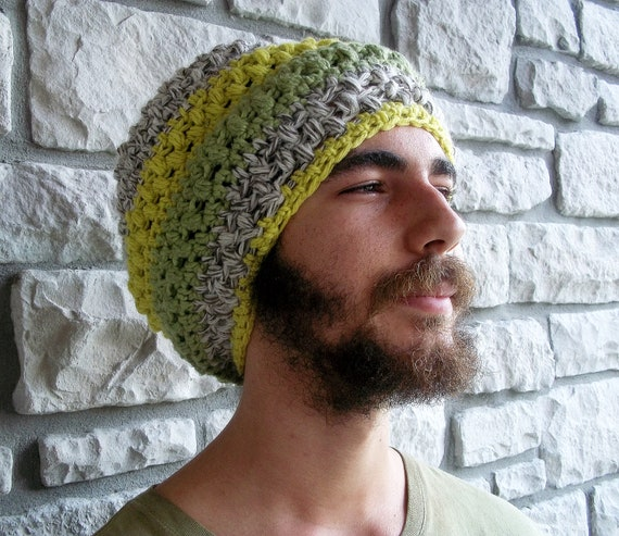Unique Dreadlock Tam / Crochet Super Slouchy Beanie / Green Wool Rasta Hat