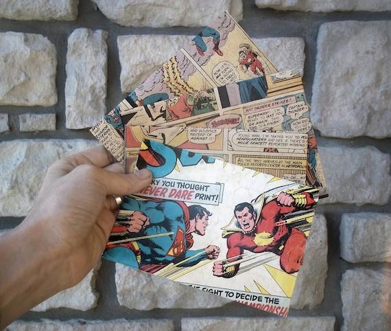 Comic Book Envelopes, Wedding Invitations, Birthday Invitations / Superman, repurposed, upcycled paper crafts, penpal stationery - SET of 4