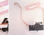 Classic leather camera strap - pink and white