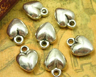20 pcs Silver Heart Charms 9x9mm CH1047