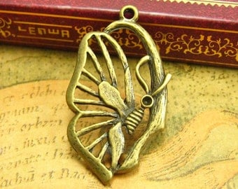 10 pcs Antique Bronze Butterfly Charms 38x21mm CH1238