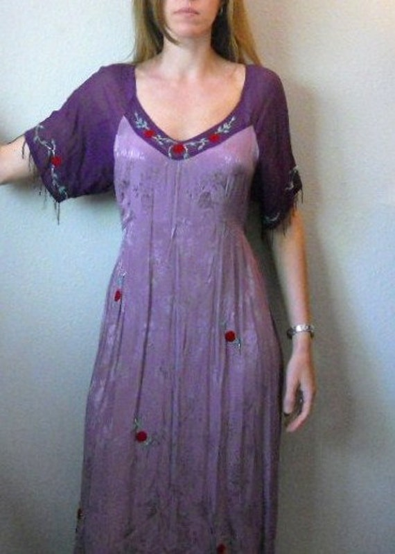 vintage 80s 90s purple lavendar gypsy hippie beaded maxi dress / small medium