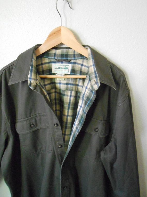vintage 80s LL BEAN dark olive green/ gray flannel lined shirt / mens xlarge