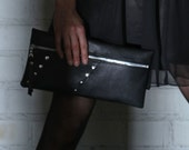Black Leather Zipper Clutch with Silver Studs, Ecodesign, made from recycled leather