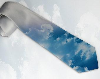 "Mens ""Blue Sky"" necktie. Tie for trendy traveler, optimist or happy dad with unique taste with clouds."