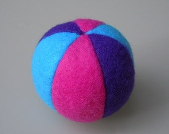 Catnip Fleece Ball Cat Toy Bright Blue Purple Pink