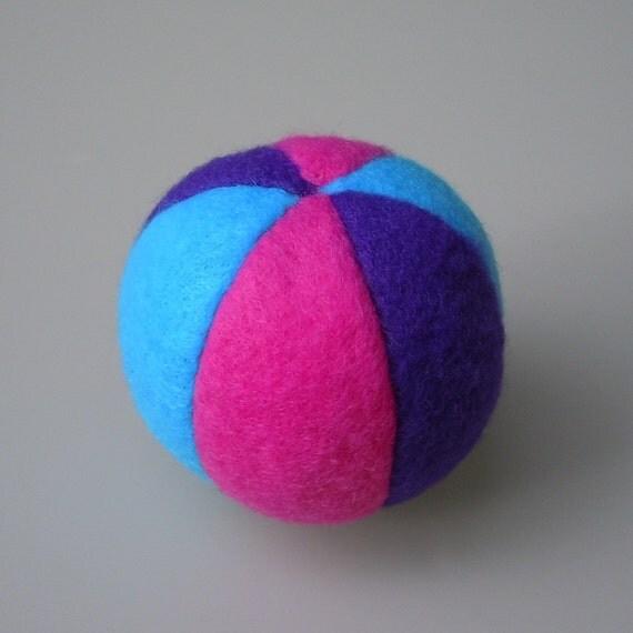 Catnip Fleece Ball Cat Toy Bright Blue Purple Pink
