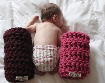 My itsy bitsy blankie-Wine-square baby blanket-baby shower gift