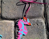 "Lilly Pulitzer inspired seahorse Christmas ornament in ""Hold Your Horses"" resort print"