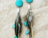 Turquoise & Brown Feather Earrings