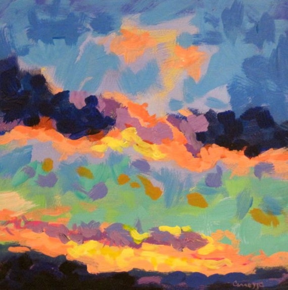 Sunset - Oringinal Abstract painting. 6 x 6 inches.