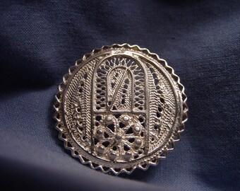 Vintage Sterling Silver filigree broach