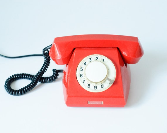 Vintage Red Rotary Telephone - Soviet Union - Made in Poland in 1978 - Collectible - Home Decor -teamcamelot