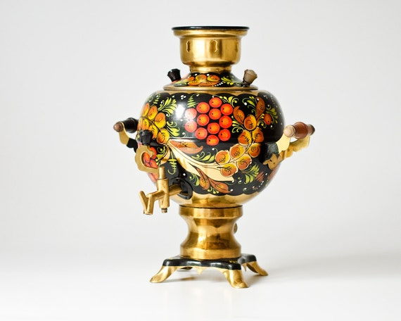 Vintage Russian Electric Samovar Painted in the Khokhloma Style - Made in USSR - WORKING