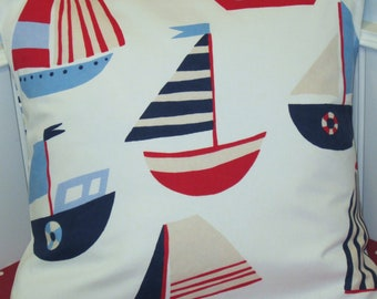 24 Inch Pillow Cover, Kids Nautical Cushion Cover, Decorative Pillow Cover, Sailing Boats  White Blue Red, Striped Back