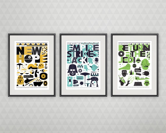Star Wars poster, Star Wars Baby print,  Star Wars art, Star Wars decor, Star Wars nursery art - Original trilogy  poster set  of  3  A3