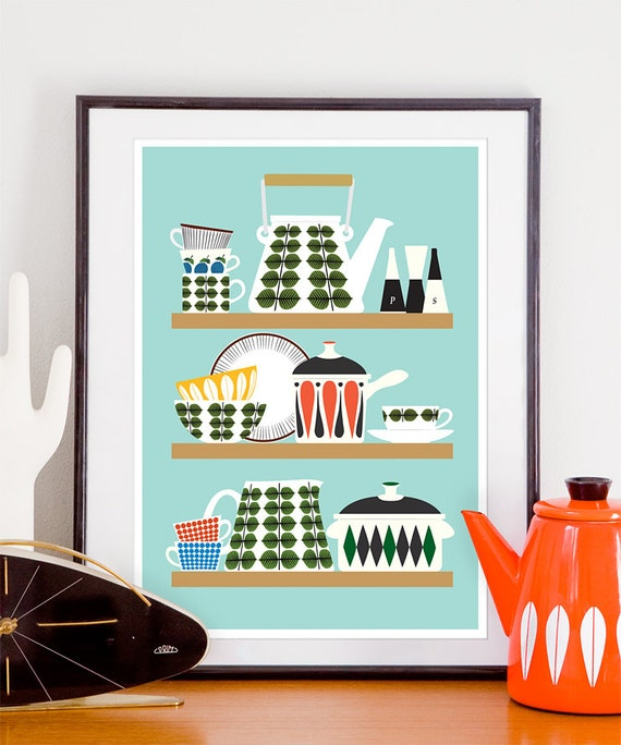 Kitchen Art Prints: Scandinavian Kitchen Print Stig Lindberg Bersa Mid Century