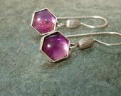 "For Isabelle Pocard ONLY special order"""" Sterling Silver Amethyst Stone Honeycomb Dangle Earrings"