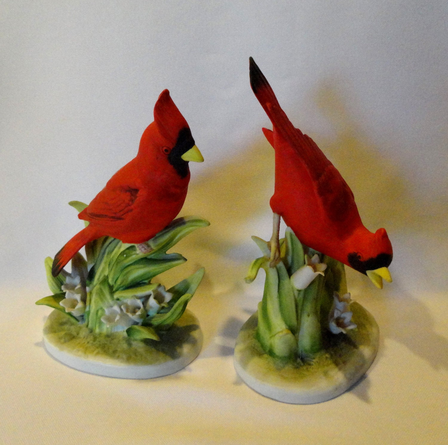 Lefton Pair Of Red Cardinal Bird Figurines