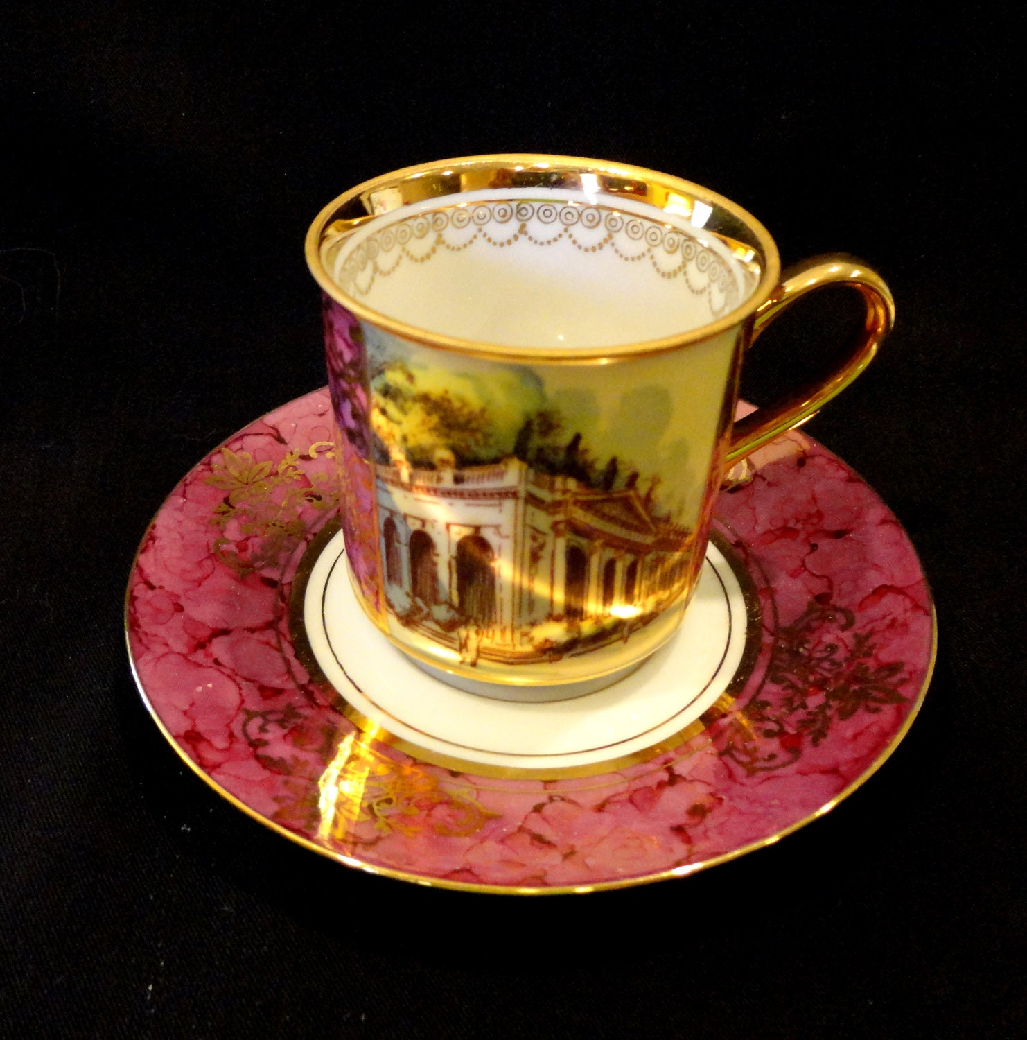 cup and saucer demitasse size from czechoslovakia recently. Black Bedroom Furniture Sets. Home Design Ideas