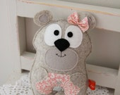 Baby bear felt toy in light beige/grey with pink lace belly, softie, handsewn