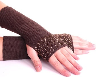 Long pure merino wool beaded fingerless gloves, arm warmers, wrist warmers in dark brown with bronze color glass beads - READY to ship