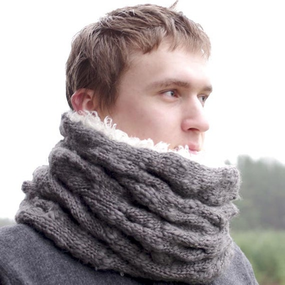 Amazingly soft, warm and thick cable knit double layered unisex cowl scarf