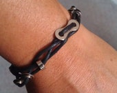 Bike Chain link and Spacer Braided Corded Bracelet - UBDBCD02