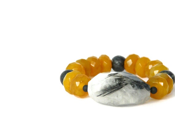 agate bracelet in mustard yellow quartz, black jasper, and  tourmalined quartz focal stone. statement bracelet. gift