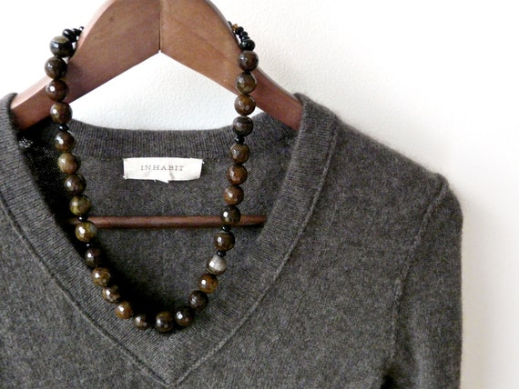 MOTH. chocolate brown agate necklace with sparkling faceted stones and black onyx rondelles.