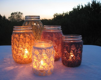 PDF Knitting Pattern - Lace Knit Mason Jar Centerpieces - DIY Tutorial - How To Knit Mason Jar Candle Holder - Knit Mason Jar Cozy