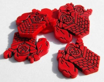 """10 Red Santa in Chimney Flat Back Buttons Size 7/8"""""""
